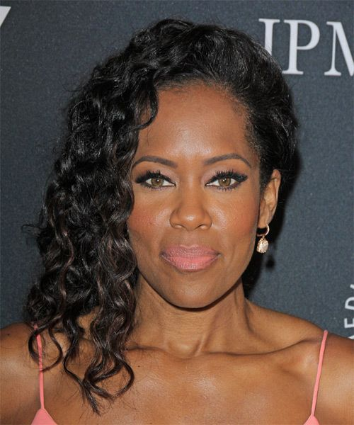 Regina King Long Curly Black Hairstyle Regina King Long Curly Hairstyle Try On This Hairstyle An In 2020 Hair Color For Black Hair Hair Styles Long Curly Hair