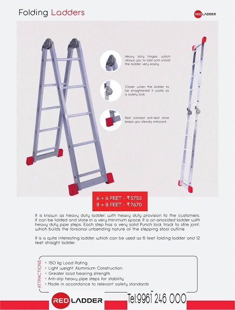 Red Folding Ladder Available On Discount Rates Free Delivery Services Available In The Below Areas From Direct Company Folding Ladder Ladder Red