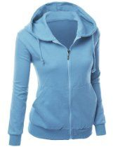 Xpril Women's Basic Hoodie zip up sweater with Side Kangaroo front pockets