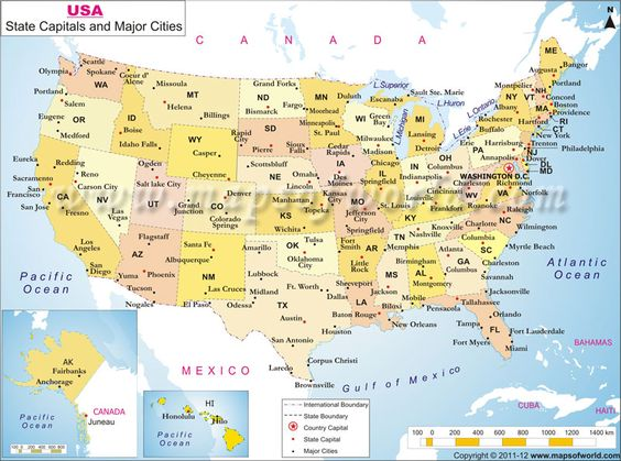 USA Map indicates major cities country state capitals – Map Usa Capitals