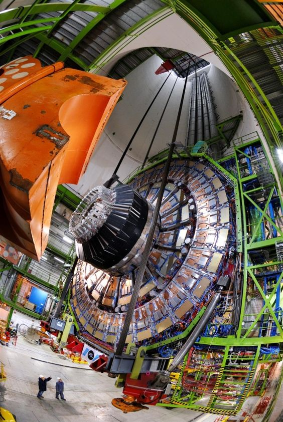Compact Muon Solenoid end cap lowered into place