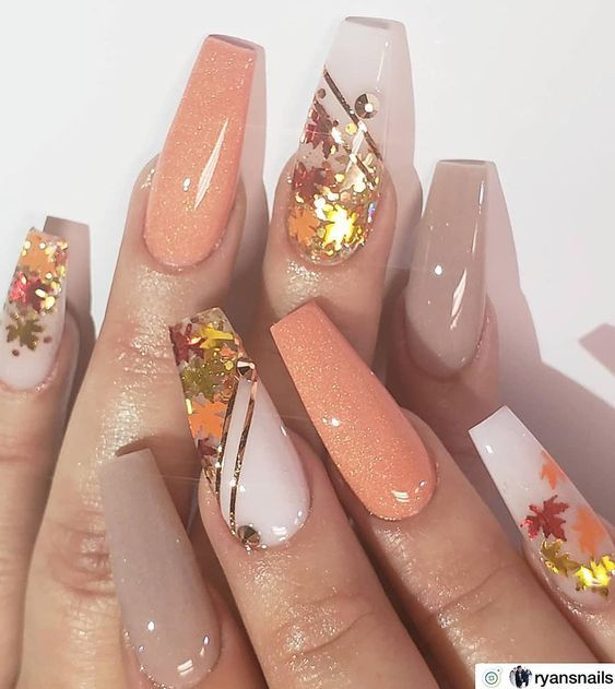 16 Leaf Patterned Fall Nail Designs In 2020 Fall Acrylic Nails Cute Nails For Fall Long Acrylic Nails