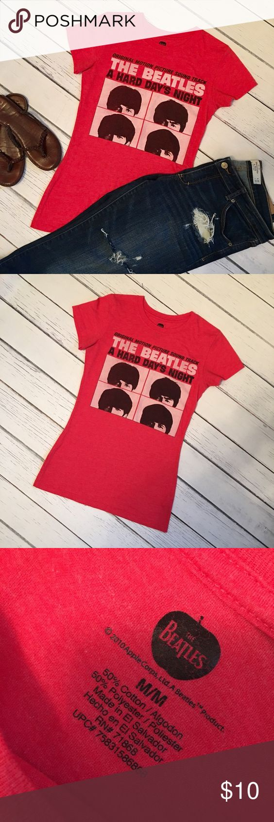 Beatles T-Shirt Size M 50/50 soft red heather cotton/poly Beatles t-shirt in perfect new condition. Slim, longer fit. Smoke free/pet free! Tops Tees - Short Sleeve