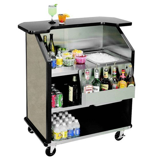 Lakeside 884bs 43 Stainless Steel Portable Bar With Beige Suede Laminate Finish Removable 7 Bottle Speed Rail And 40 Lb Ice Bin Portable Bar Ice Bins Serving Space