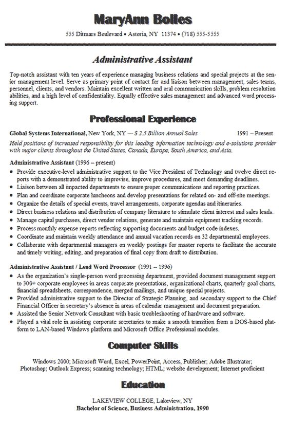 Executive Administrative Assistant Resume (resumecompanion - executive assistant summary of qualifications