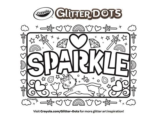 Glitter Dots Sparkle Cats Coloring Page Crayola Com Shark