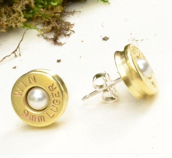 White Pearl Bullet Stud Earrings  Brass 9mm  by LamplighterJewelry, $30.00