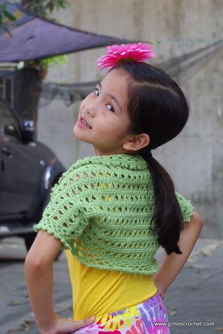Free Crochet Pattern: Aida Shrug , a kid's bolero crochet ...