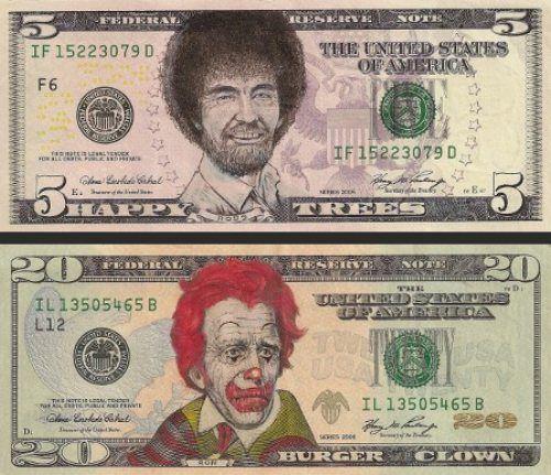 Gezichten tekenen op dollarbiljetten