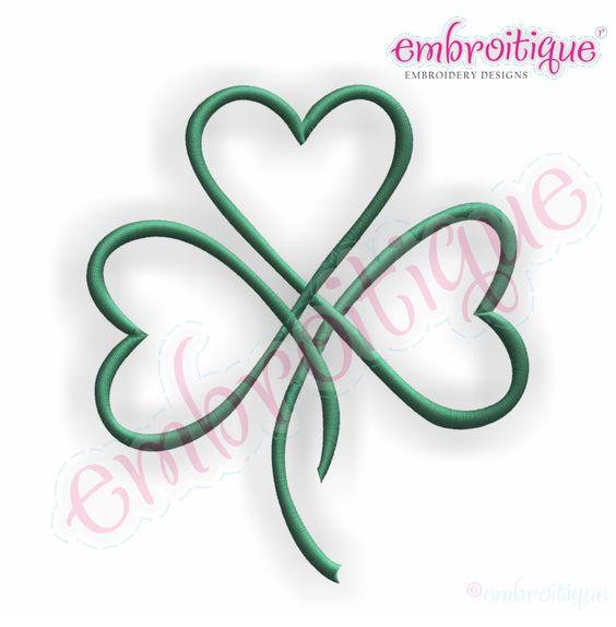shamrock hearts | Shamrock Heart Satin Stitch Outline ...