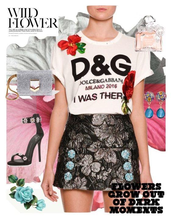 """Wild Flower"" by anna-gabedava ❤ liked on Polyvore featuring Dolce&Gabbana, Jimmy Choo, Giuseppe Zanotti, Guerlain and Margot McKinney"