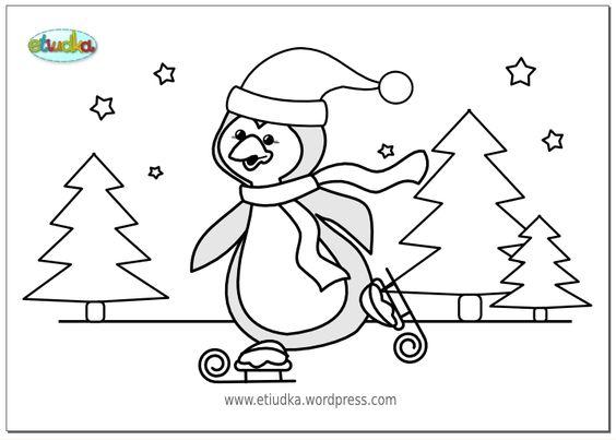 Kleurplaat Pinguin Pingwin Thema Winter Kleurplaten