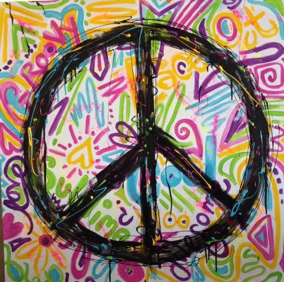 Graffiti Peace Painting for Tween Girls Room