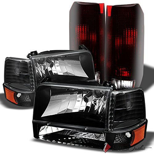 Xtune For 1992 1996 Ford F150 F250 Bronco Smoked Headlights Set Smoked Red Tail Lights Combo 1993 1994 1995 Ford F150 F150 F250