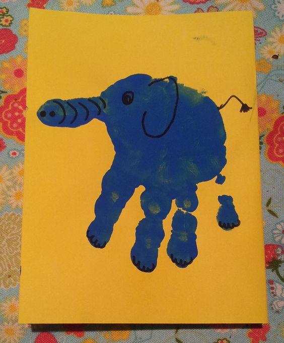 Elephant, olifant, craft, handprint
