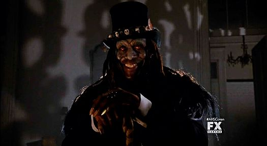 American Horror Story: Coven Papa Legba...   Dressed as Baron Samedi and dealing with life and death, also the Baron's thing...