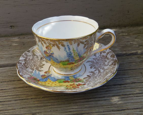 Colclough England Bone China Cup Saucer Gilt Lady Dinah Crinoline Lady - pinned by pin4etsy.com