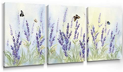 Amazon Com Slody Purple Wall Art Flower Modern Lavender Canvas Prints Butterfly Floral Picture Spring Landscape Botani Purple Wall Art Bedroom Artwork Artwork