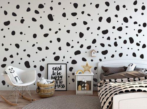 200 Black Dalmatian Dog Spots Polka Dots Stone Shape Wall Art