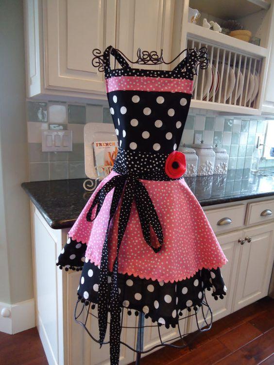 Womens Retro Full Apron - 4RetroSisters Annabelle Style -  Bubble Gum Pink - Retro Modern $37.95