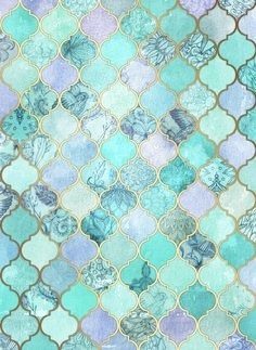Cool Jade & Icy Mint Decorative Moroccan Tile Pattern Art Print by Micklyn