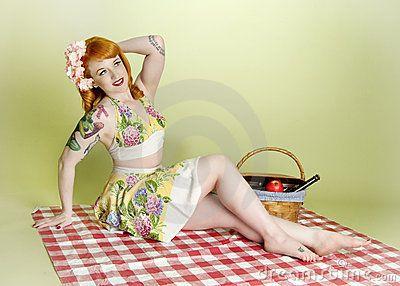 Sexy Picnic Pinup Model by Tina Tang, via Dreamstime