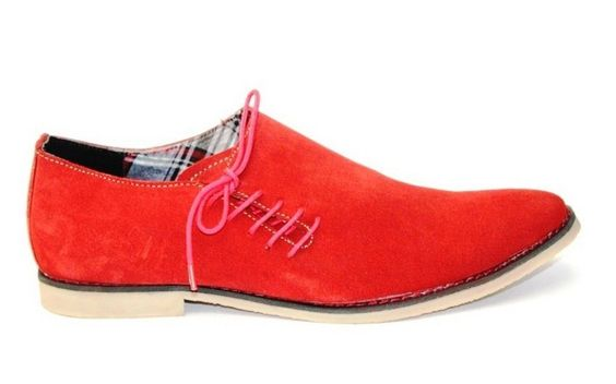 Guava Suede Leather Side Lace-up Shoe - Red  ₹ 1,349.00