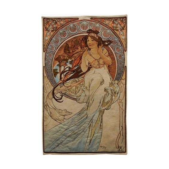 Music Romantic Tapestry Wall Hanging - Alphonse Mucha Art ($250) ❤ liked on Polyvore featuring home, home decor, wall art, music home decor, music themed wall art, tapestry wall hanging, tapestry wall art and music themed home decor