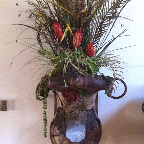 Western saddle floral arrangement