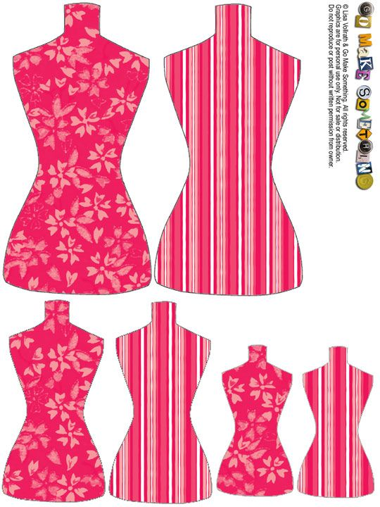 """des planches de """"torso tags"""", comme les appelle leur créatrice, puisqu'ils reprennent la forme des bustes des mannequins de couturière..."""