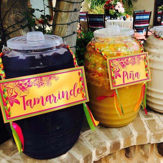 3 signs: Tamarindo, Pina, and Horchata, special sign for Fiesta theme, Fiesta Party, Mexican theme,