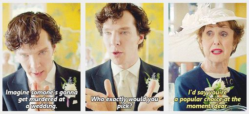 """Sassy Mrs. Hudson is sassy! """"If someone could just move Mrs. Hudson's glass out of reach, that would be lovely."""""""