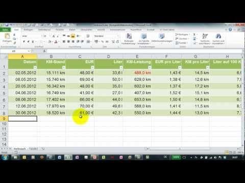 Benzinverbrauch Mit Excel Berechnen Kosten Auf 100 Km Etc Youtube Fahrtenbuch Excel Vorlage Vorlagen