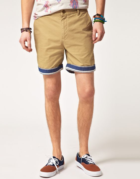 ASOS Chino Shorts With Contrast Turn Ups
