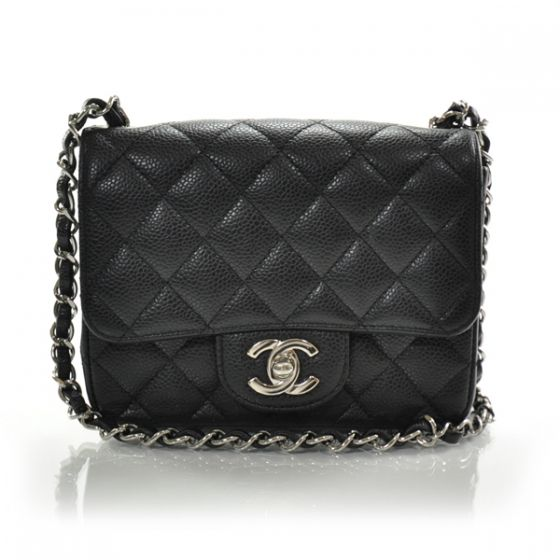 This Is An Authentic CHANEL Caviar Quilted Mini Flap In Black The Classic Features And