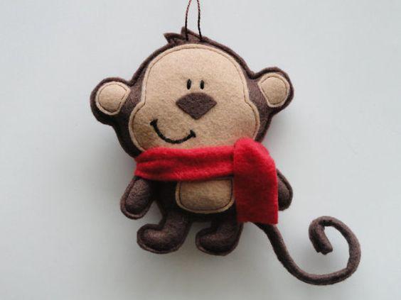 Curly Tail Felt Monkey Ornament-Monkey Ornament-Felt ...