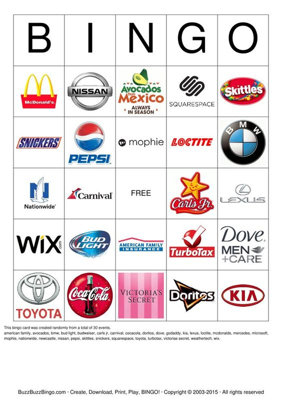 Printable Superbowl Commercial Logo Bingo. Perfect for your Superbowl ...