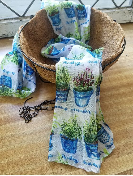 Dollar Tree Gift Ideas Herb Scarf Hanging Basket Gifts For A Gardener