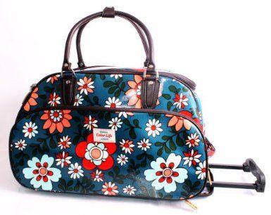 funky flower print blue wheeled travel bag on wheels cabin luggage bag gym bag weekend bag. Black Bedroom Furniture Sets. Home Design Ideas