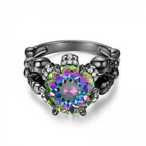 Round Cut Rainbow Topaz Rhodium Plated Sterling Silver Four-Skull Design Engagement Ring