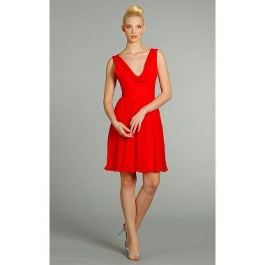 maid of honor dress --- Alluring Sleeveless Cowl Neckline Short Chiffon Dress