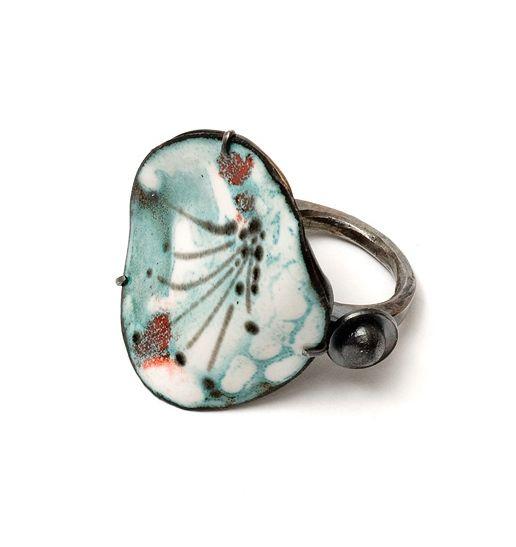 Ring, Sterling silver, copper, vitreous enamel, oxidised.