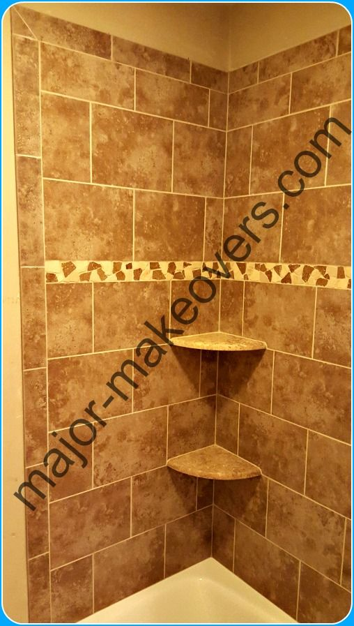 9x12 Inches Ceraimc Tile Installed In A Brick Style On Tub Walls