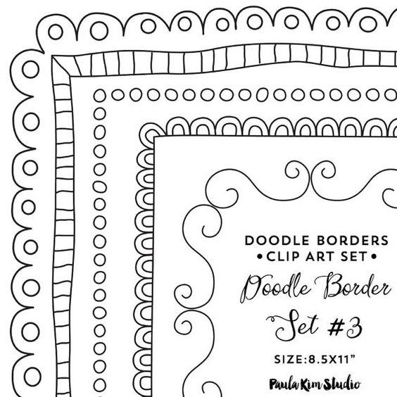Doodle Border Clipart 8.5x11 Frame Clip Art by PaulaKimStudio
