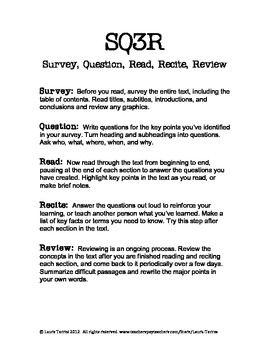 FREE SQ3R Handout and Worksheet | 5th grade ela | Pinterest ...