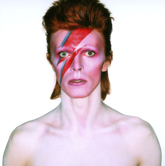 Album cover shoot for Aladdin Sane, design by Brian Duffy and Celia Philo, make up by Pierre La Roche (1973) © Duffy Archive