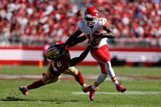 Cheap NFL Jerseys Outlet - Kansas City Chiefs running back De'Anthony Thomas, San Francisco ...