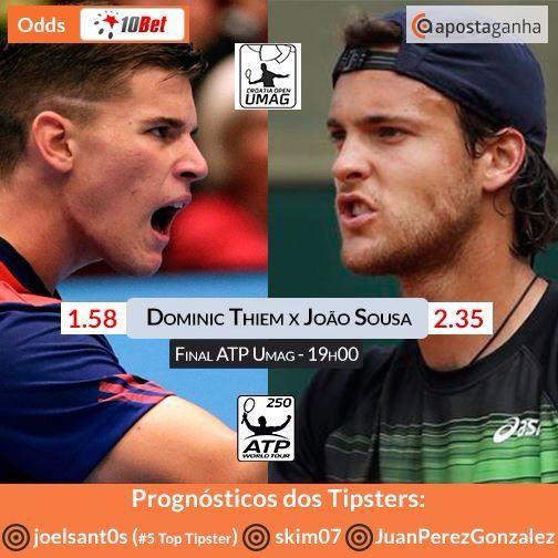 O português #JoãoSousa disputa hoje a final do #ATPUmag !  O jogo será transmitido ao vivo na #Bet365 (se és português podes continuar a usufruir das transmissões até final deste mês)   http://bit.ly/dominic-thiem-vs-joao-sousa-joelsant0s  http://bit.ly/dominic-thiem-vs-joao-sousa-skim07  http://bit.ly/dominic-thiem-vs-joao-sousa-JuanPerezGonzalez  #JoaoSousa #DominicThiem #atp #tennis #desporto #apostas #apostasonline #apostasdesportivas #gamesetmatch #umag #atpumag #bets #betting #dhoz