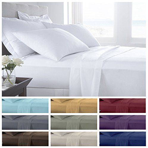 California King White Solid 4pc Sheet Set 1000 Thread Count 100