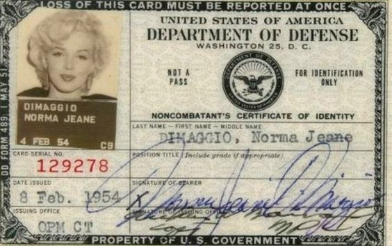 """Norma Jeane Dimaggio's Department of Defence ID: """"This piece appears to be the actual one that Monroe used when she performed for the troops in Korea while she and Joe DiMaggio were on their honeymoon."""" - Bonhams via Retronaut"""